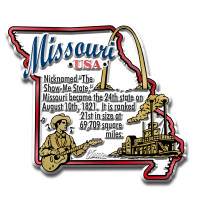 """Missouri Information State Magnet by Classic Magnets, 2.9"""" x 2.5"""", Collectible Souvenirs Made in the USA"""