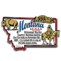 """Montana Information State Magnet by Classic Magnets, 3.3"""" x 2"""", Collectible Souvenirs Made in the USA"""