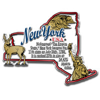 """New York Information State Magnet by Classic Magnets, 3.6"""" x 2.8"""", Collectible Souvenirs Made in the USA"""