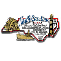 """North Carolina Information State Magnet by Classic Magnets, 4"""" x 1.9"""", Collectible Souvenirs Made in the USA"""