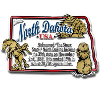 """North Dakota Information State Magnet by Classic Magnets, 3.1"""" x 2"""", Collectible Souvenirs Made in the USA"""