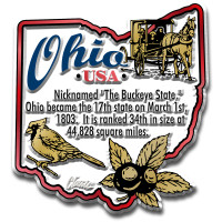 """Ohio Information State Magnet by Classic Magnets, 2.4"""" x 2.6"""", Collectible Souvenirs Made in the USA"""