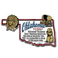 """Oklahoma Information State Magnet by Classic Magnets, 3.7"""" x 2.2"""", Collectible Souvenirs Made in the USA"""