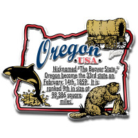 """Oregon Information State Magnet by Classic Magnets, 3"""" x 2.3"""", Collectible Souvenirs Made in the USA"""