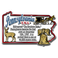 """Pennsylvania Information State Magnet by Classic Magnets, 3.1"""" x 2"""", Collectible Souvenirs Made in the USA"""