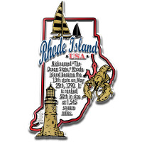 """Rhode Island Information State Magnet by Classic Magnets, 2.4"""" x 3.7"""", Collectible Souvenirs Made in the USA"""