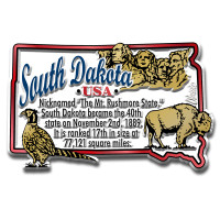 """South Dakota Information State Magnet by Classic Magnets, 3"""" x 1.9"""", Collectible Souvenirs Made in the USA"""