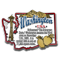 """Washington Information State Magnet by Classic Magnets, 3"""" x 2.2"""", Collectible Souvenirs Made in the USA"""