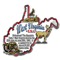 """West Virginia Information State Magnet by Classic Magnets, 3.4"""" x 3.1"""", Collectible Souvenirs Made in the USA"""