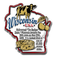 """Wisconsin Information State Magnet by Classic Magnets, 2.5"""" x 2.7"""", Collectible Souvenirs Made in the USA"""