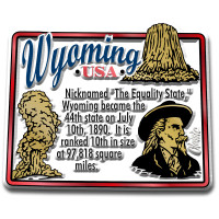 """Wyoming Information State Magnet by Classic Magnets, 2.5"""" x 2.1"""", Collectible Souvenirs Made in the USA"""