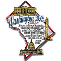 """Washington, D.C. Information State Magnet by Classic Magnets, 2.9"""" x 3.5"""", Collectible Souvenirs Made in the USA"""