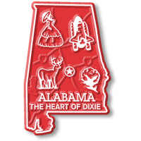 """Alabama Small State Magnet by Classic Magnets, 1.5"""" x 2.3"""", Collectible Souvenirs Made in the USA"""