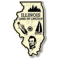 """Illinois Small State Magnet by Classic Magnets, 1.5"""" x 2.5"""", Collectible Souvenirs Made in the USA"""