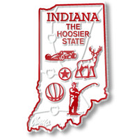 """Indiana Small State Magnet by Classic Magnets, 1.6"""" x 2.3"""", Collectible Souvenirs Made in the USA"""