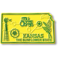 """Kansas Small State Magnet by Classic Magnets, 2.2"""" x 1.3"""", Collectible Souvenirs Made in the USA"""