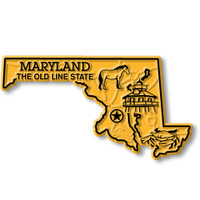 """Maryland Small State Magnet by Classic Magnets, 3"""" x 1.6"""", Collectible Souvenirs Made in the USA"""