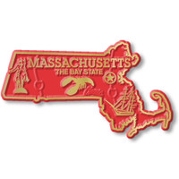 """Massachusetts Small State Magnet by Classic Magnets, 3"""" x 1.7"""", Collectible Souvenirs Made in the USA"""