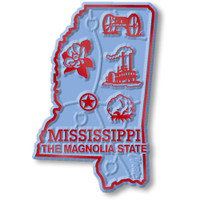 """Mississippi Small State Magnet by Classic Magnets, 1.6"""" x 2.4"""", Collectible Souvenirs Made in the USA"""