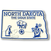 """North Dakota Small State Magnet by Classic Magnets, 2.2"""" x 1.4"""", Collectible Souvenirs Made in the USA"""