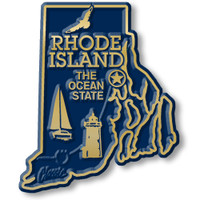 """Rhode Island Small State Magnet by Classic Magnets, 1.9"""" x 2.2"""", Collectible Souvenirs Made in the USA"""