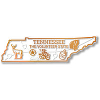 """Tennessee Small State Magnet by Classic Magnets, 3.5"""" x 1"""", Collectible Souvenirs Made in the USA"""
