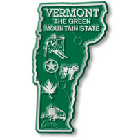 """Vermont Small State Magnet by Classic Magnets, 1.5"""" x 2.6"""", Collectible Souvenirs Made in the USA"""