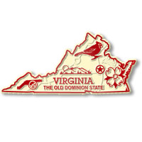 """Virginia Small State Magnet by Classic Magnets, 3.1"""" x 1.5"""", Collectible Souvenirs Made in the USA"""