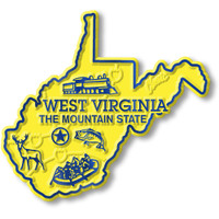 """West Virginia Small State Magnet by Classic Magnets, 2.6"""" x 2.4"""", Collectible Souvenirs Made in the USA"""