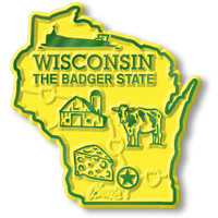 """Wisconsin Small State Magnet by Classic Magnets, 1.9"""" x 2"""", Collectible Souvenirs Made in the USA"""