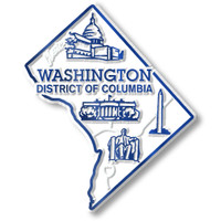 """Washington, D.C. Small Map Magnet by Classic Magnets, 2.1"""" x 2.5"""", Collectible Souvenirs Made in the USA"""