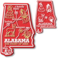 Alabama State Map Giant & Small Magnet Set by Classic Magnets, 2-Piece Set, Collectible Souvenirs Made in the USA
