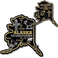 Alaska State Map Giant & Small Magnet Set by Classic Magnets, 2-Piece Set, Collectible Souvenirs Made in the USA