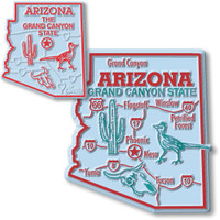 Arizona State Map Giant & Small Magnet Set by Classic Magnets, 2-Piece Set, Collectible Souvenirs Made in the USA