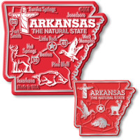 Arkansas State Map Giant & Small Magnet Set by Classic Magnets, 2-Piece Set, Collectible Souvenirs Made in the USA