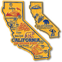 California State Map Giant & Small Magnet Set by Classic Magnets, 2-Piece Set, Collectible Souvenirs Made in the USA