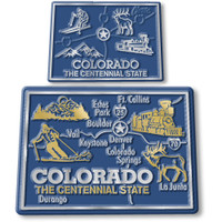 Colorado State Map Giant & Small Magnet Set by Classic Magnets, 2-Piece Set, Collectible Souvenirs Made in the USA