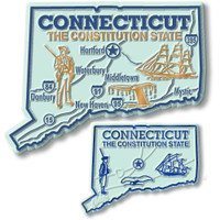 Connecticut State Map Giant & Small Magnet Set by Classic Magnets, 2-Piece Set, Collectible Souvenirs Made in the USA
