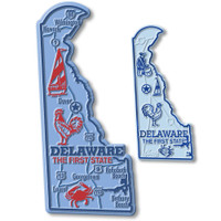 Delaware State Map Giant & Small Magnet Set by Classic Magnets, 2-Piece Set, Collectible Souvenirs Made in the USA