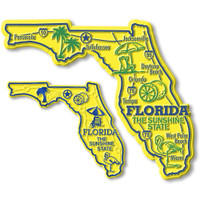 Florida State Map Giant & Small Magnet Set by Classic Magnets, 2-Piece Set, Collectible Souvenirs Made in the USA