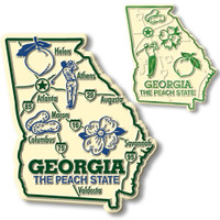 Georgia State Map Giant & Small Magnet Set by Classic Magnets, 2-Piece Set, Collectible Souvenirs Made in the USA