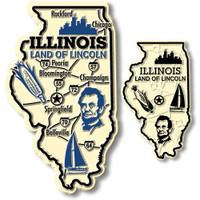 Illinois State Map Giant & Small Magnet Set by Classic Magnets, 2-Piece Set, Collectible Souvenirs Made in the USA