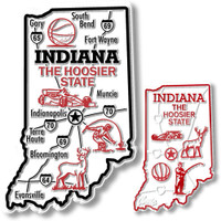 Indiana State Map Giant & Small Magnet Set by Classic Magnets, 2-Piece Set, Collectible Souvenirs Made in the USA