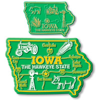 Iowa State Map Giant & Small Magnet Set by Classic Magnets, 2-Piece Set, Collectible Souvenirs Made in the USA
