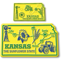 Kansas State Map Giant & Small Magnet Set by Classic Magnets, 2-Piece Set, Collectible Souvenirs Made in the USA