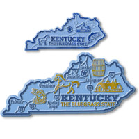 Kentucky State Map Giant & Small Magnet Set by Classic Magnets, 2-Piece Set, Collectible Souvenirs Made in the USA