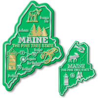 Maine State Map Giant & Small Magnet Set by Classic Magnets, 2-Piece Set, Collectible Souvenirs Made in the USA