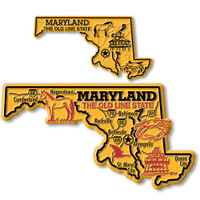 Maryland State Map Giant & Small Magnet Set by Classic Magnets, 2-Piece Set, Collectible Souvenirs Made in the USA