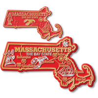 Massachusetts State Map Giant & Small Magnet Set by Classic Magnets, 2-Piece Set, Collectible Souvenirs Made in the USA