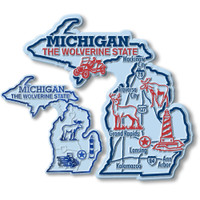 Michigan State Map Giant & Small Magnet Set by Classic Magnets, 2-Piece Set, Collectible Souvenirs Made in the USA